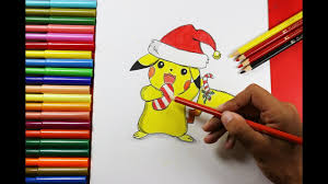 How to Draw Pikachu with A <b>Christmas Hat</b> - Cómo dibujar Pikachu ...
