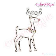 Simple Christmas Reindeer Embroidery Design Large