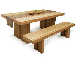 Long Wooden Bench With Real Wood Dining Table