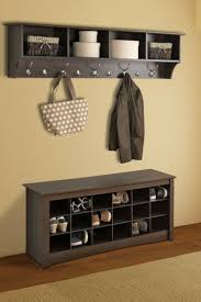 Coat Rack With Baskets Decorations Nice Looking Hall Bench With White Wicker Basket 82