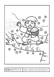 はなさかじいさん主線黒日本の昔話童話昔の塗り絵ぬりえプリント
