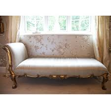Lounge Chair For Bedroom Antique White Fabric Lounge Chair With Back And Golden Carving