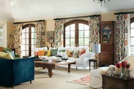 eclectic living room with patterned curtain