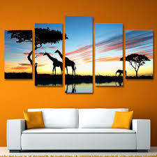 modern wall art canvas printed painting frame pictures 5 pieces african animal giraffe elephant sunset landscape on sunset wall art canvas with modern wall art canvas printed painting frame pictures 5 pieces
