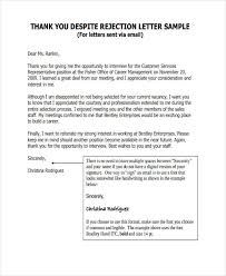 sample thank you letter after interview via email professional rejection letter 10 free word pdf format download