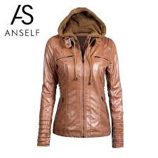 tan faux leather jacket plus size coat black winter faux leather jacket women long sleeve hooded