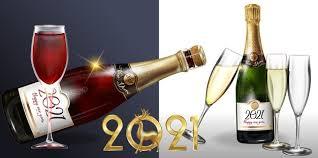 Бутылка шампанского и дизайн бокал для шампанского   Бесплатно векторы