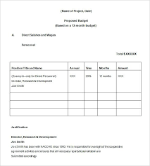 Example Budget Proposal Template Download Simple Project Sample ...