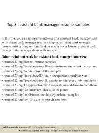 Sample Bank Manager Resume Top 8 Assistant Bank Manager Resume Samples
