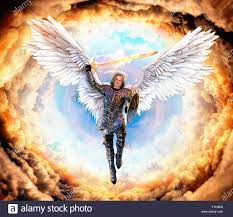 Archangel Michael, with flaming sword and shield, flying on feathered wings into hell, 3d render painting Stock Photo - Alamy