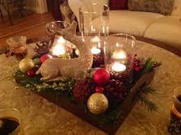 Vintage coffee table decor from salvaged living; Pin By Stephanie Taylor On Holiday Decorating Christmas Centerpieces Holiday Coffee Table Decor Christmas Table Decorations