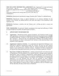 Manufacturer Distributor Agreement Template Distributorship