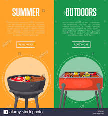 Barbecue Flyers Outdoor Summer Picnic Flyers With Meats On Bbq Stock Vector