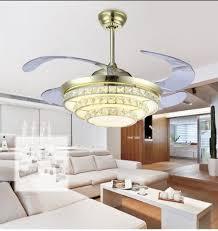 modern simple stealth fan lights living room bedroom restaurant lights crystal ceiling fan remote co