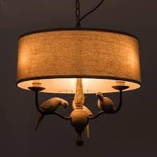 Drum shade pendant lighting Gold Savelights 3light Birds Decoration Drum Shade Pendant Light