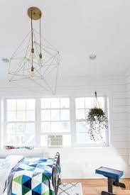 Brass Simple DIY Modern Geometric Ceiling Light in Shared Kids Room