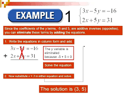 solve systems of linear equations using elimination honors math substitution and examples method