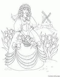 ぬりえ 花束とプリンセス