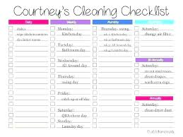 T Cleaning Checklist Printable House Chore Schedules Weekly Chores