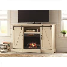 home decorators collection chestnut hill 68 in tv stand electric fireplace with sliding barn door in ivory 102891 the home depot