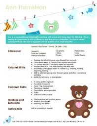 babysitting skills resume creative babysitter resume sample with a summary  education related and personal skills hobbies