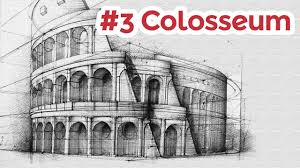 Modern Architectural Drawings Of Famous Buildings Colosseum Perspective Drawing 3 Architecture Throughout Beautiful Ideas