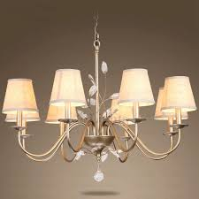 rustic 8 light fabric shade iron and crystal chandelier for bedroom