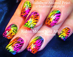 DIY Rainbow Nails Animal Print | Easy HOT Summer Neon Nail Art ...