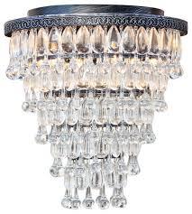 weston 7 light flush mount glass drop chandelier antique silver