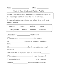 Collection Of Solutions Context Clues Worksheets Pdf About Resume
