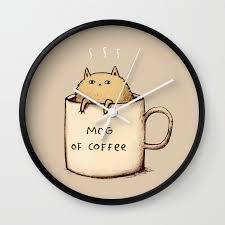 mog of coffee wall clock by