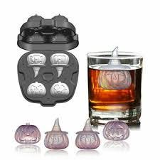 4 Hole <b>3D Halloween Pumpkin</b> Shape Ice Cube Mold Silicone ...