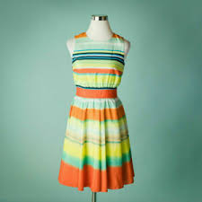 Details About Ted Baker 4 Dress Sleeveless Belted Colorul Stripe Fit Flare Full Cocktail Party