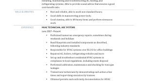 Hvac Technician Resume Sample Formidable Hvac Tech Resume Examples On Technician Samples And Job 23
