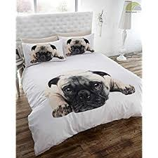 Pug Dog Quilt Duvet Cover and Pillowcase Bedding Set, White ... & Pug Dog Quilt Duvet Cover and Pillowcase Bedding Set, White, Single Adamdwight.com