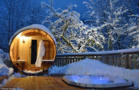holiday luxury what better place to warm up than this bubbling hot tub at chalet outdoor i35