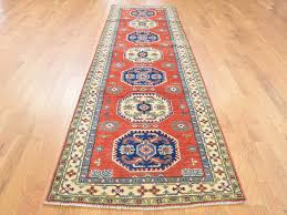 2 8 x9 9 hand knotted red special kazak geometric design runner rug cwr39320