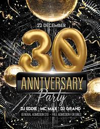 30th Anniversary Party Free Flyer Template Free Flyer