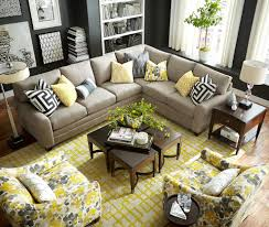 Yellow Living Room Decor Living Room Gray Sofa Black Console Table Brown Ceiling Fans