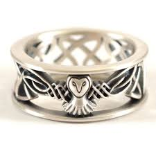 mens celtic knot wedding bands. sterling silver owl wedding band, celtic ring, mens irish knot bands n