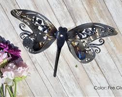 popular items for garden art on outdoor metal dragonfly wall art with garden art etsy