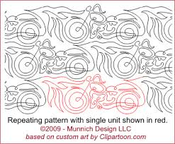 Munnich Design - Quilt Recipes: Digital Quilting Pattern - Browse ... & EZ1035 - Hot Ride on Two Wheels - Free Motion Motorcycle Adamdwight.com