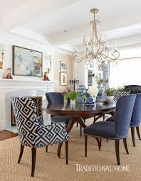 more to love blue and white dr with chinoiserie and patterned head chairs gr cloth walls crystal chandelier sisal rug