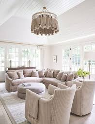 dusty rose pink sectional under vaulted
