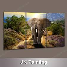 3 piece modern oil canvas elephant painting realistic wall hanging animal artwork from whole manufacturer china oil paint