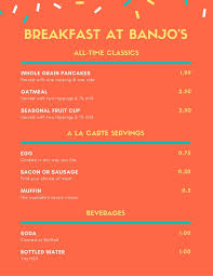 A La Carte Menu Template Orange Confetti Simple Breakfast Menu Templates By Canva