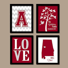 >university of alabama college bama roll tide custom family initial  university of alabama college bama roll tide custom family initial state love bird tree wedding date set of 4 prints wall art graduation