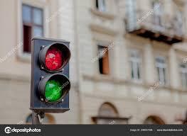 Traffic Light Pole Traffic Light Pole Red Green Sign Blur Building Background