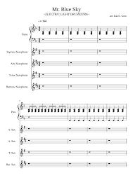 mr blue sky piano sheet music free mr blue sky sax quartet sheet music for piano soprano saxophone