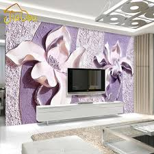 whole customize any size 3d relief purple magnolia bedroom tv background wall paper home decor living room non woven mural wallpaper pc widescreen